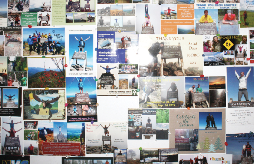 Postcards on display at the Doyle Hotel, sent from hikers who have past through.
