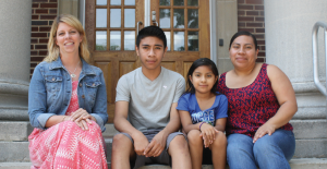 West Shore School District ESL instructor Brandy Kanode; Allen Middle School eighth-grader Alberto Hernandez-Ortiz; his sister, Daniela Cruz-Hernandez, a second-grader at Lower Allen Elementary School; and the children's mother, Magali Hernadez-Ortiz, of New Cumberland.