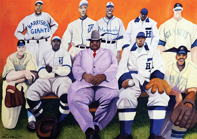"""Giants Come Home,"" a painting by Dane Tilghman, depicting Harrisburg Giants players throughout the history of the team."