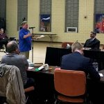 Harrisburg Education Association President Jody Barksdale addressed the school board at last night's meeting.