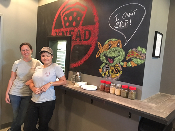 ab66b609aa80d0 Jennie O Neill and Bow Phrachansiri stand outside the ordering window at  Knead Bar Pies inside Zeroday Brewing Co. in Harrisburg.