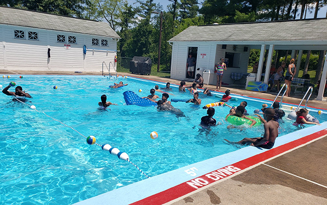 Swim Time: Rowland Academy students take inaugural dip in Lt. Gov.'s pool.